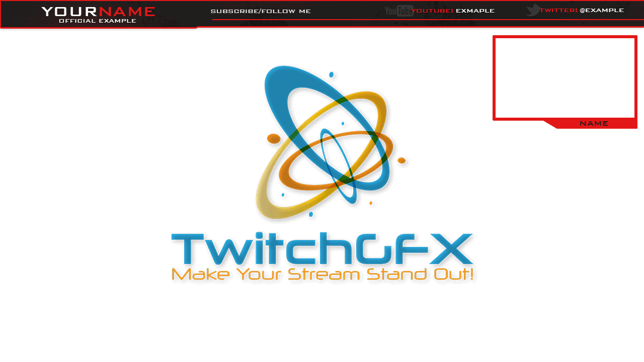 clean looking red streaming overlay with come white and black colors with a top bar and webcam window you can customize this overlay with photoshop